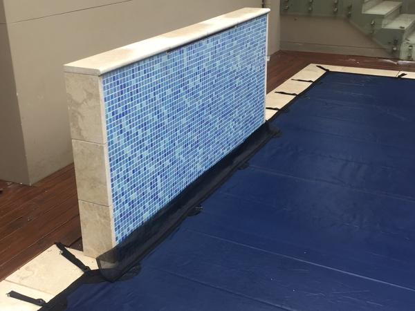 Blue leaf cover fitted to feature wall