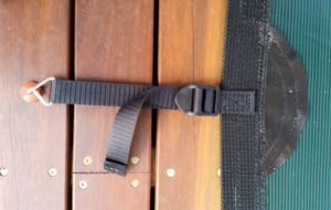 Strap end sewn over to prevent hooks detaching